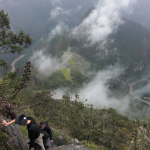 Steep path high up in the clouds