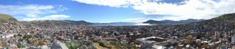 Panoramic view of Puno, looking over Lake Titicaca