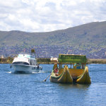 Old vs new boats on Lake Titicaca