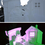 Snow sculpture in daylight and same one at night