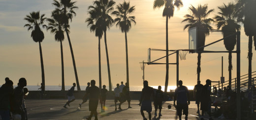 Sun setting on the basketball courts