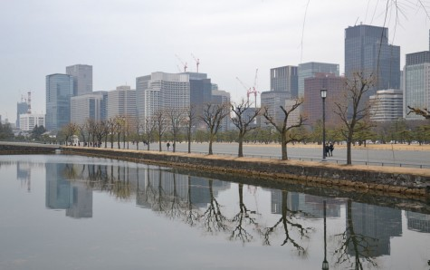 Imperial grounds with a skyline of the modern day buildings