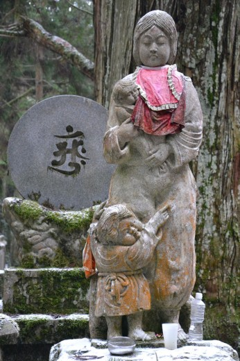 Mother with her child statue in Koyasan cemetary