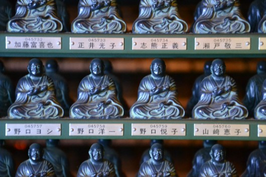 Detail of the many Buddha statues in the basement of Okunoin