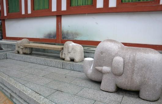 Random elephant statues in Koya town