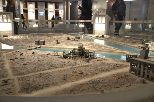 Miniature model of Hiroshima after the explosion