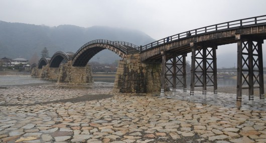 The 5-span wooden Kintaikyo bridge in Iwakuni