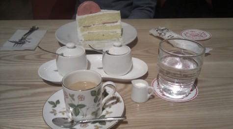 Tea time in a way-too-cute-cafe. Check the size of the creamer...