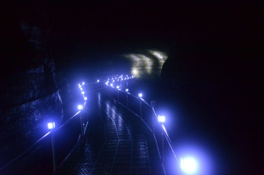Lit up pathways in the lava-tube