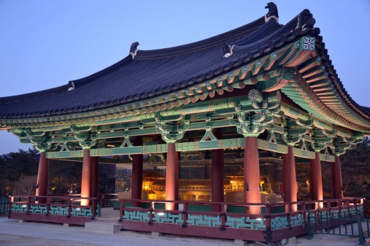 One of the rebuild temples at Anapji pond