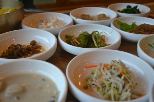 Side dishes with our bibimbap in Jeonju