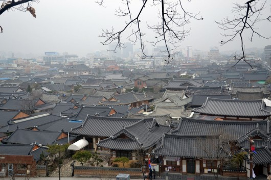 View over the Jeonju Hanok village