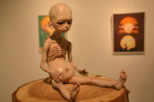 Creepy realistic statue in Insadong