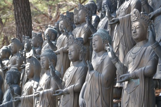 Tons of statues in front of the temple on Dobongsan