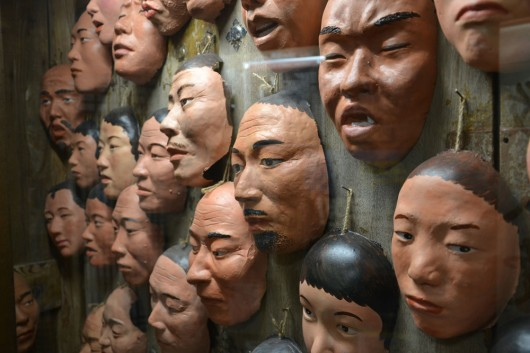 Creepy face masks in old Korea museum