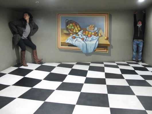 Optical illusions in Trick art museum