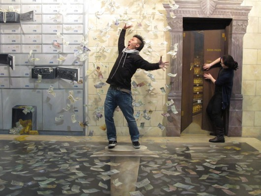 Making it rain in Trick art museum