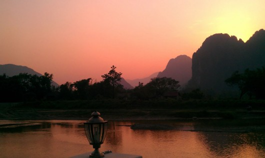 Breath taking sunset in Vang Vieng