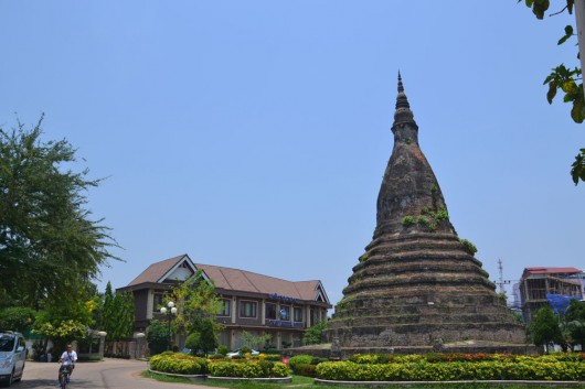 First of many (black) stupas in Vientiene