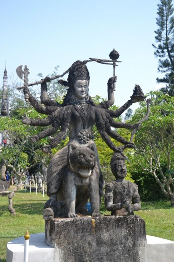 Buddhist sculpture in the sculpture park in Vientiene