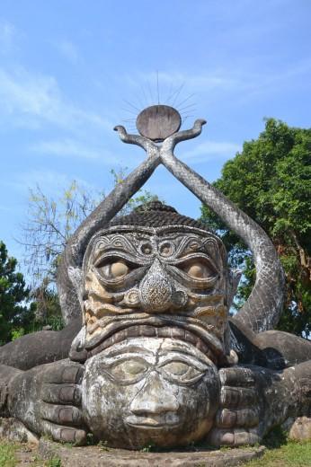 Incredible sculpture in the sculpture park in Vientiene
