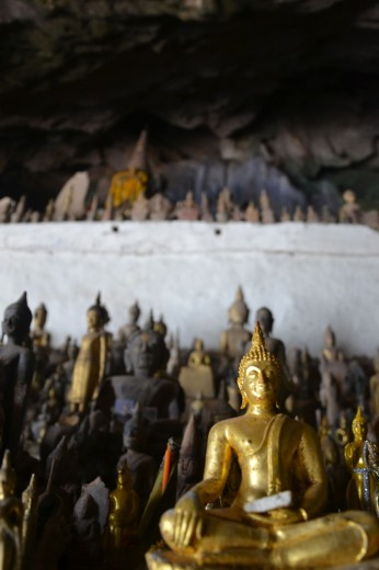 Tons of Buddha statues in Pak Ou caves
