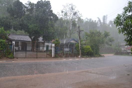 Heavy monsoon rain in Laos