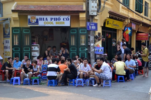 Drinking Bia Hoi in the Old Quarters