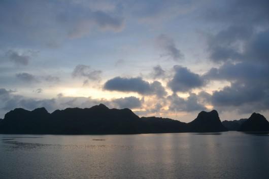 Halong Bay at nightfall