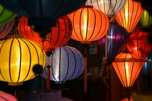 Extremely colorful Chinese lanterns at night in Hoi An