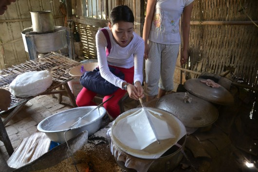 Rice paper making in Hoi An