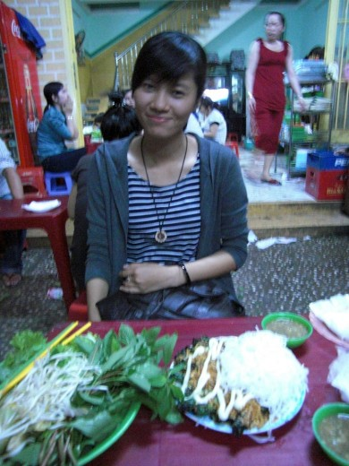 Foodie guide Trang showing me the best streetfood around Hanoi