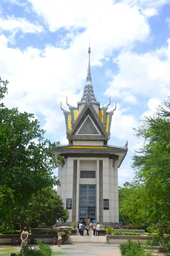 Choeung Ek memorial building where the killing fields used to be