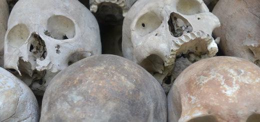 Some of the 8000 skulls in the Choeung Ek memorial