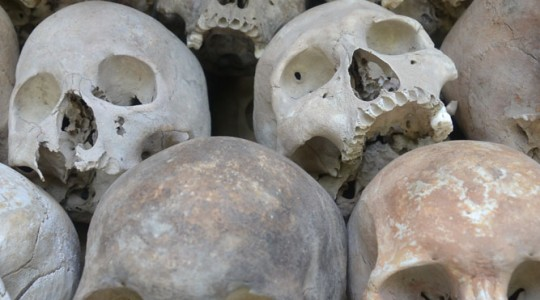 Some of the 8000 skulls in the Choeung Ek memorial