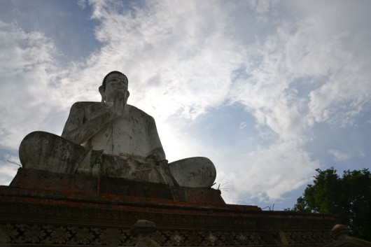 Huge Buddhistic statue around the rural villages in Battambang