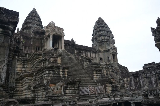Huge temples and staircases in Angkor Wat