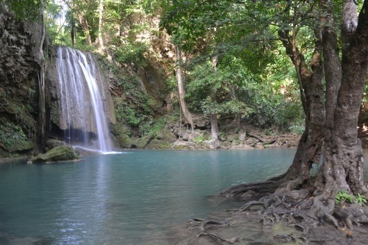 Crystal clear water from the Erawan Falls