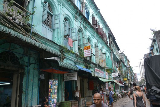 Colorful building fronts all over Yangon