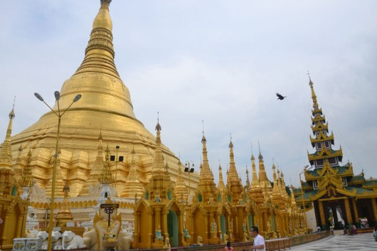 Part of main stupa in Shwedagon Paya