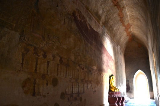 Huge frescos in the temples of Bagan