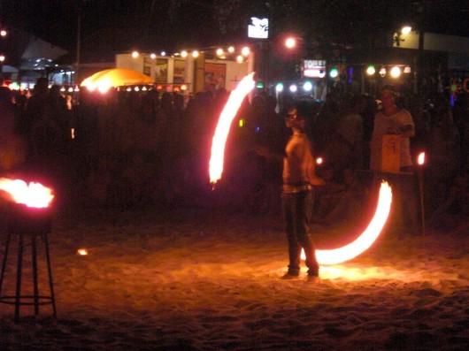 Fire show on the beach!