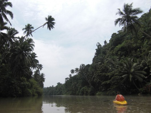 On our kayak near Nuts Huts
