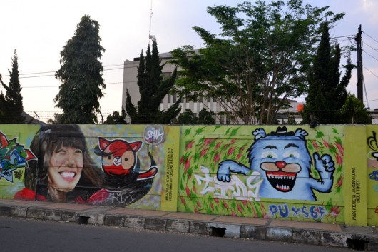 Colorful and detailed graffit near Bandung train station