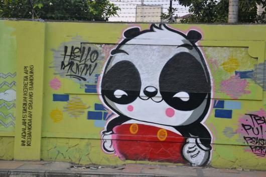 Adorable graffiti near Bandung trainstation