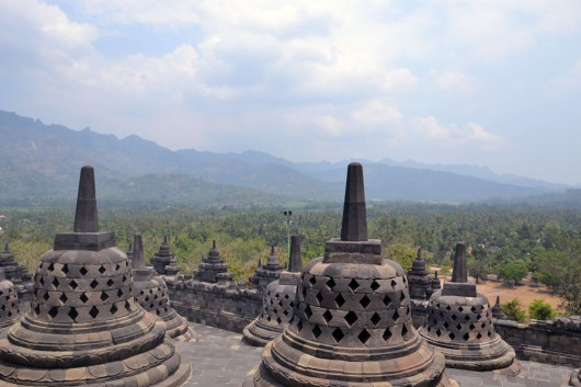 Seen from the top of the Borobudur temple