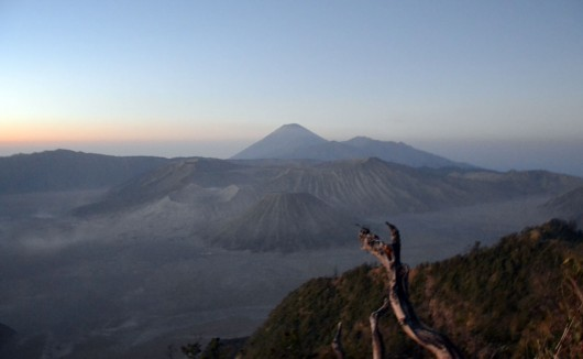 Mount Bromo in the front and Mount Semeru in the back