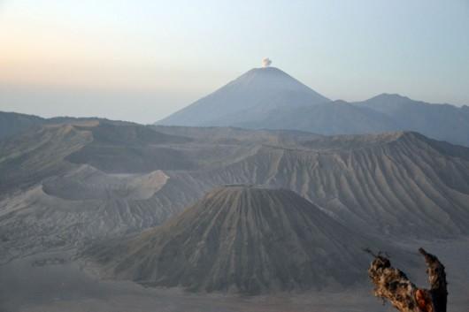 Mount Semeru with the tiny eruption. Baby eruptions
