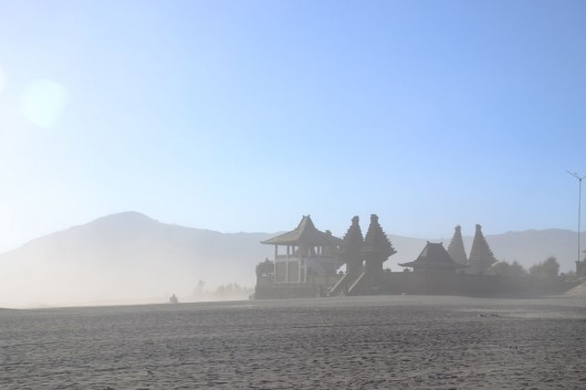 Temple in the middle of the sandy area on the way to Mount Bromo