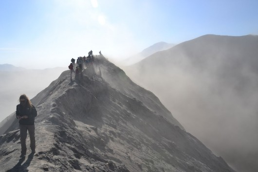 On the ridges of Mount Bromo crater